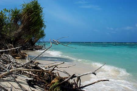 The beach after  Tsunami Stock Photo