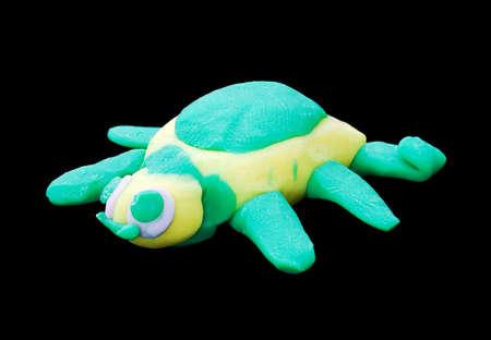 Plasticine turtle. Creativity of children from preschool age Stock Photo