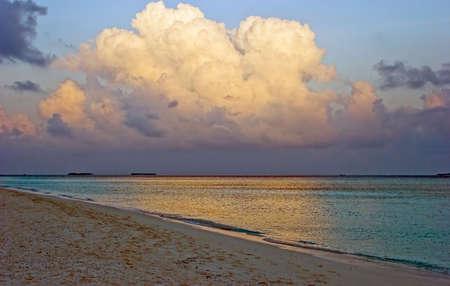 Clouds above a beach. Coast of Indian ocean