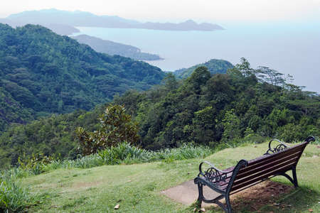 Bench on a hill. Ocean