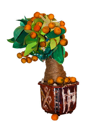 Tangerine tree made by a child on white