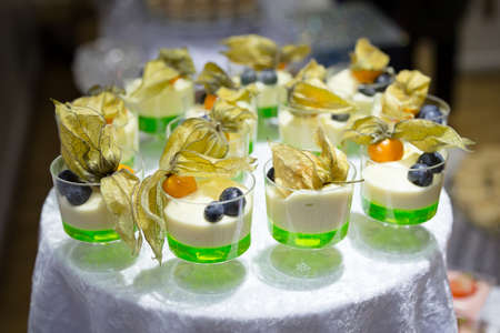 banqueting: Lime and cream dessert