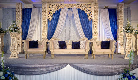 Gold blue wedding stage