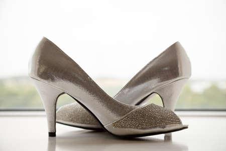 open toe: Brides shoes Stock Photo