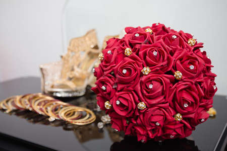 faux: red bridal bouquet