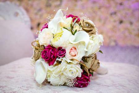 asian bride: Bridal bouquet Stock Photo