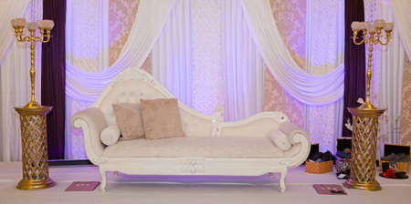 marriage: Purple themed wedding stage