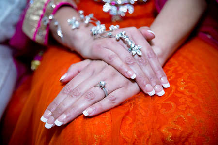 jewellry: Close up of brides hands with jewellry