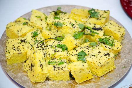 onion bhaji: Khamun Indian savoury snack yellow