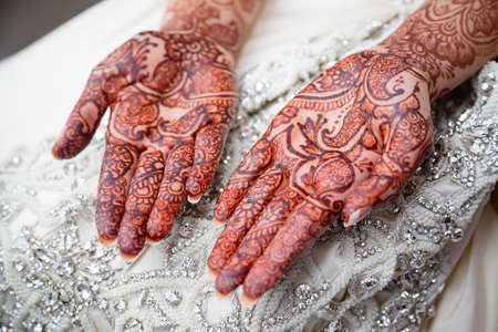 mehendi: Bridal henna on brides wedding day Stock Photo