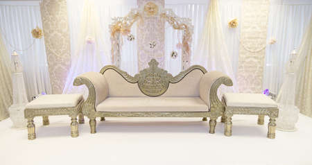 themed: Indian cream themed wedding stage