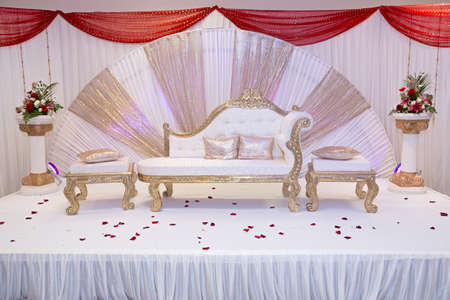 Vector illustration of indian wedding mandap stage stock photo red themed wedding stage with gold trimmed benches photo junglespirit Images