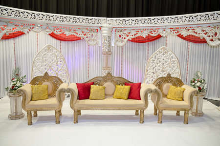 red and white themed wedding stage Stock Photo