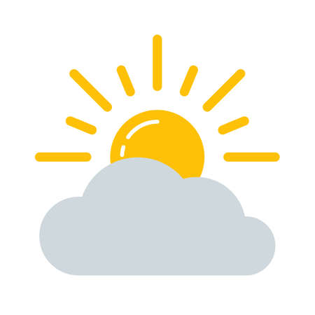 Weather forecast colorful icon. Flat cloudy sun symbol isolated on white background. Vector illustration EPS10.