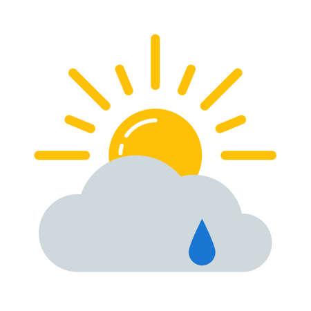 Weather forecast colorful icon. Flat rain symbol isolated on white background. Vector illustration EPS10.