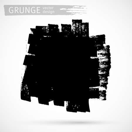 Black ink brush strokes background. Freehand drawing. Grunge abstract design element isolated on white background. Text frame template. Vector illustration EPS 10.