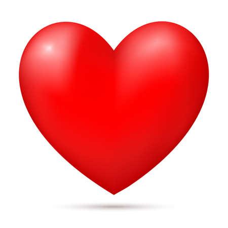 Corazón rojo 3d aislado sobre fondo blanco. Banner, plantilla de cartel, elemento de decoración. Ilustración de vector.