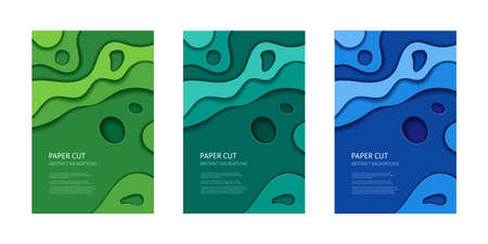 Green cut out 3d paper effect abstract background. Vector design layout, banner templates.
