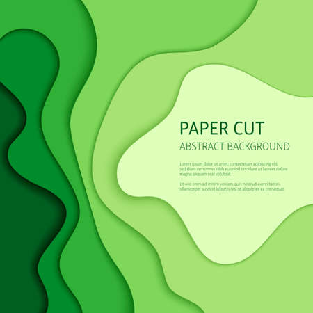 3d effect abstract background. Colorful cut out paper, vector design templates.