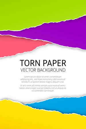 Torn edge paper background. Colorful vector templates.