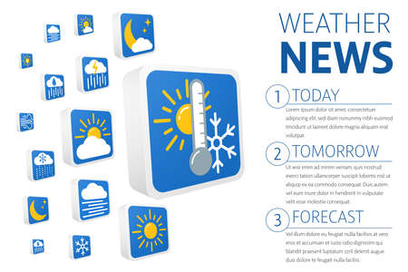 3d weather forecast icons set. Banner template design. Symbols are isolated on white background. Vector illustration EPS10.