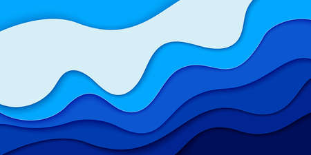 World Oceans Day banner, poster template. Deep blue sea waves paper cut style. Vector illustration EPS 10.