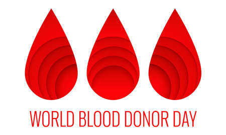 World donor day - 14 June - paper cut style poster. Blood donation and medical healthcare concept with abstract red drop. Vector illustration EPS 10. Illustration