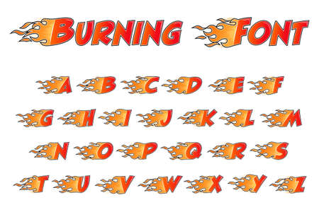 Burning alphabet. Flame letters flat style isolated on white background. Vector illustration. Illusztráció
