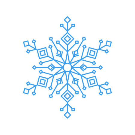 Sky blue snowflake icon - a symbol of winter holidays, xmas and new year, cold weather and frost - isolated on white background. Elegant ornate vector design element. Vektoros illusztráció