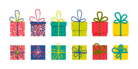 Set of a front and top view flat colorful gift boxes with ribbons and bows on a white background. Easy to use and a one-click recolor vector design.