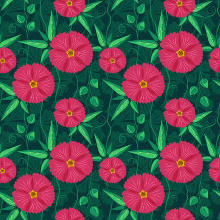 Seamless pattern with pink flowers and green leaves on the dark green background. Romantic vector illustration for textile or wrapping design.
