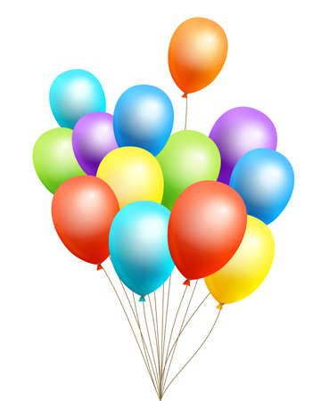 The bundle of flight up 3D rainbow color helium balloons on a white background. Realistic colorful design elements in red, orange, yellow, green, blue, purple. Vector Illustration.