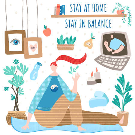 Woman doing yoga by the online class at home in a cozy room. Keeping balance and harmony in social distancing and self-isolation. COVID-19 concept in vector illustration.