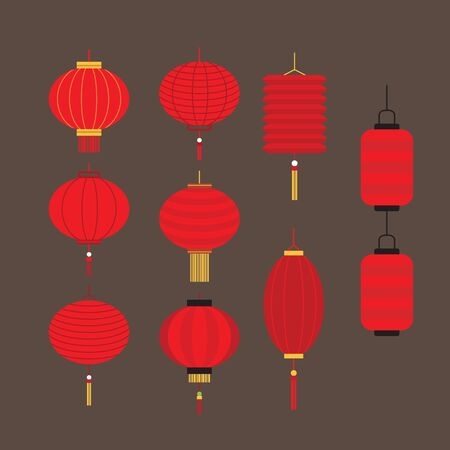 Collection of Chinese lantern Vector