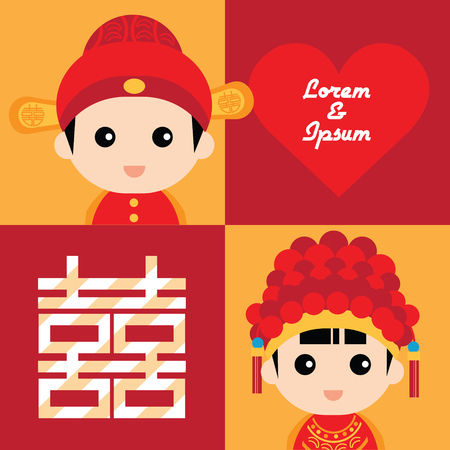 Illustration of cute couple in traditional chinese wedding costume Reklamní fotografie - 35850490