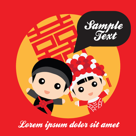 Illustration of cute couple in traditional chinese wedding costume Vettoriali