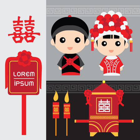 Set van traditionele chinese bruiloft elementen