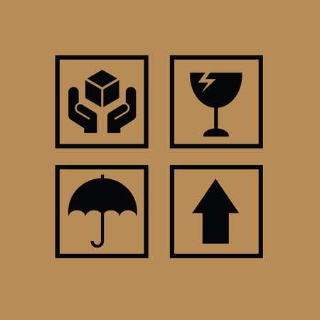 Set of fragile symbols Illustration