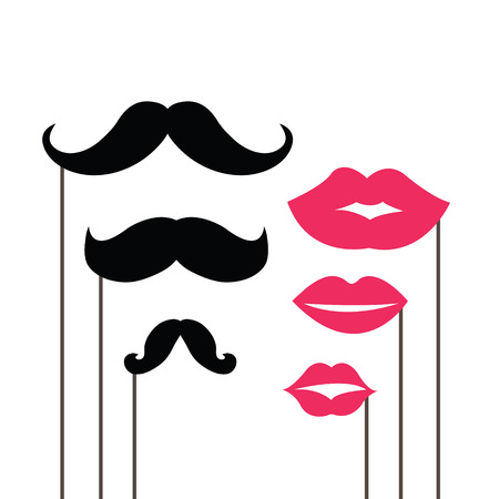 Set of mustaches and lips