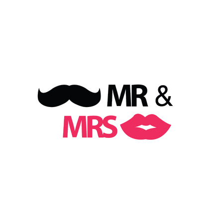 kiss lips: Mr. and Mrs. with mustache and lips