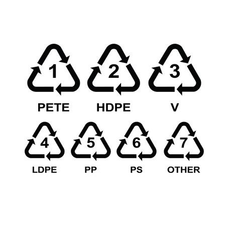 plastico pet: Conjunto de símbolos de reciclaje de plástico