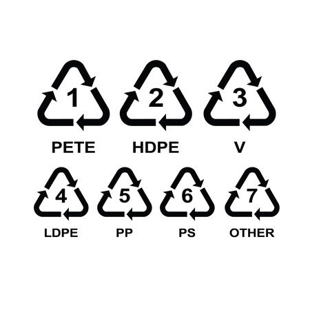Set of recycling symbols for plastic Иллюстрация