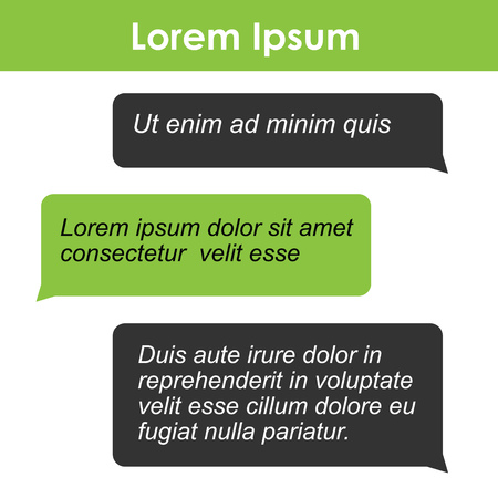 screen type: Chat bubbles with sample text