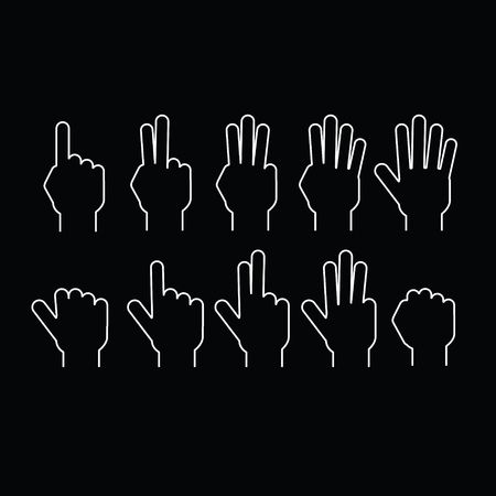 10 fingers: Set of fingers showing numbers