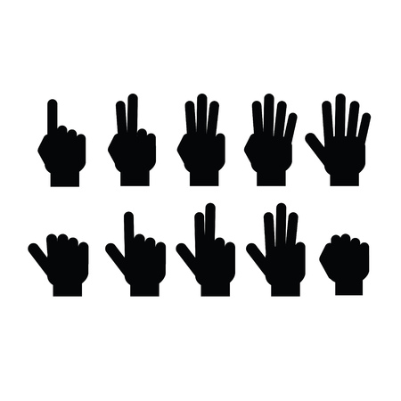 six point: Set of fingers showing numbers