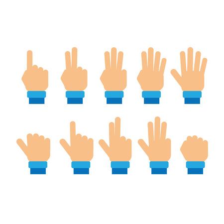 numero nueve: Conjunto de dedos que muestran los n�meros Vectores
