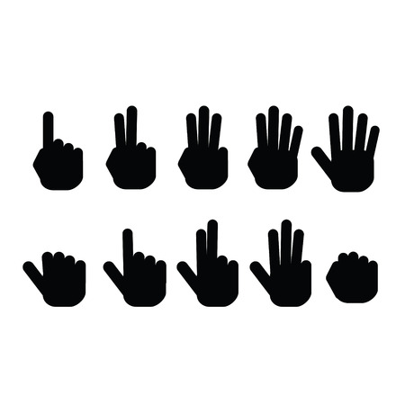 two thumbs up: Set of fingers showing numbers