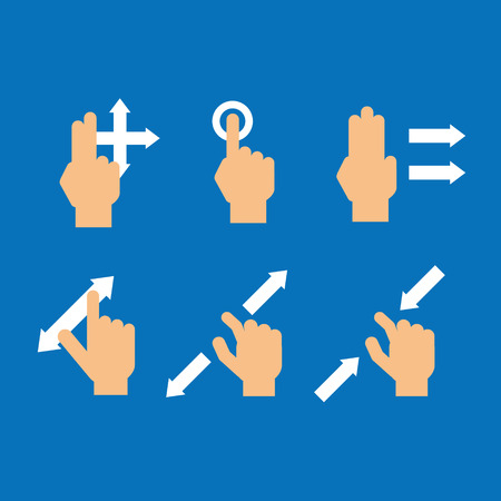 flick: Set of finger gesture touch device Illustration
