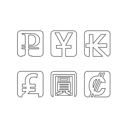 currency symbols: Set of abstract line currency symbols Illustration