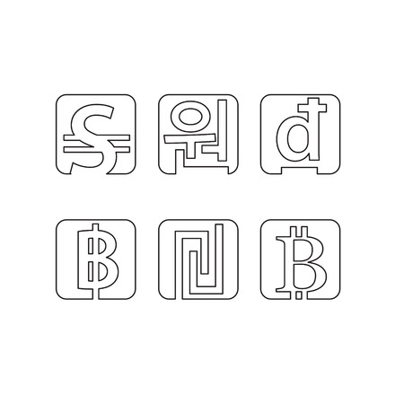 sheqel: Set of abstract line currency symbols Illustration